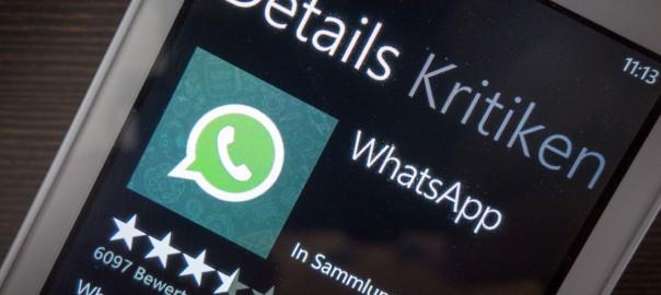 Bewertungen von WhatsApp im Store von Windows Phone 7